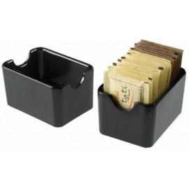Dispenser porta bustine ceramica nero  9X6X5cm