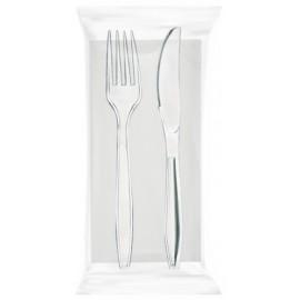 Bis krystal trasparente forchetta/coltello/tovagliolo 100pz