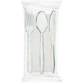 Tris krystal trasparente cucchiaio/forchetta/ coltello/tovagliolo 38 2V 100pz