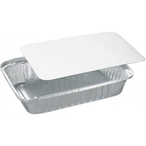 Vaschetta alluminio 2 porzioni con coperchio 100 pezzi