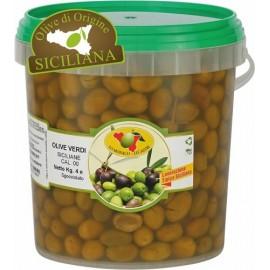 Olive verdi siciliane schiacciate secchio da 4kg sgocciolato