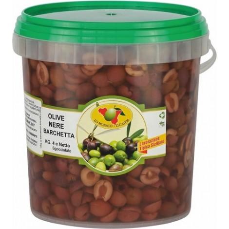 Olive nere a barchetta da 4000g  sgocciolate
