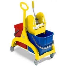 Secchio doppia vasca con strizzatoio a leva e ruote 50lt